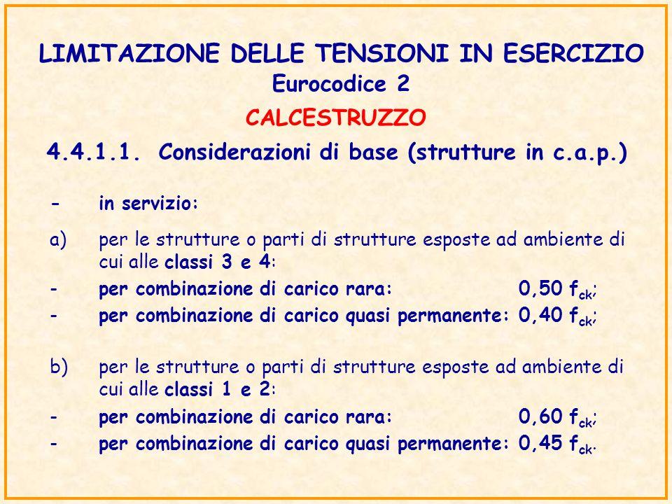 LIMITAZIONE DELLE TENSIONI IN ESERCIZIO Eurocodice 2 4.4.1.1.Considerazioni di base (strutture in c.a.p.) b)per le strutture o parti di strutture espo
