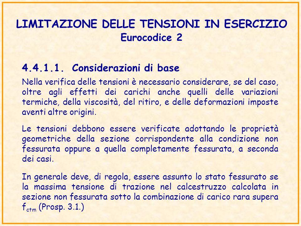 LIMITAZIONE DELLE TENSIONI IN ESERCIZIO Eurocodice 2 Le tensioni debbono essere verificate adottando le proprietà geometriche della sezione corrispond