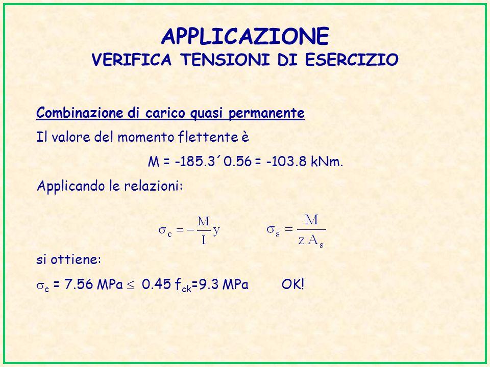 APPLICAZIONE VERIFICA TENSIONI DI ESERCIZIO Combinazione di carico quasi permanente Il valore del momento flettente è M = -185.3´0.56 = -103.8 kNm. Ap
