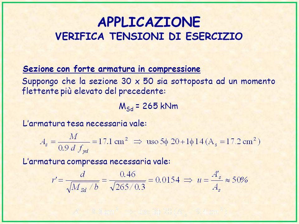 APPLICAZIONE VERIFICA TENSIONI DI ESERCIZIO Sezione con forte armatura in compressione Suppongo che la sezione 30 x 50 sia sottoposta ad un momento fl
