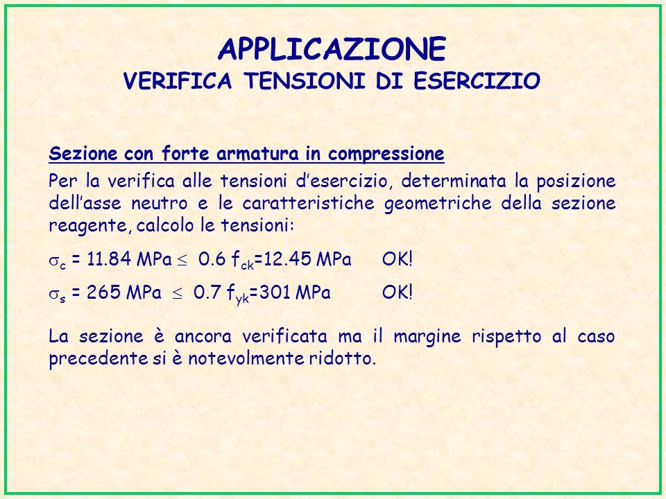 APPLICAZIONE VERIFICA TENSIONI DI ESERCIZIO Sezione con forte armatura in compressione Per la verifica alle tensioni desercizio, determinata la posizi