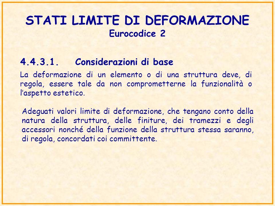 STATI LIMITE DI DEFORMAZIONE Eurocodice 2 4.4.3.1.Considerazioni di base La deformazione di un elemento o di una struttura deve, di regola, essere tal