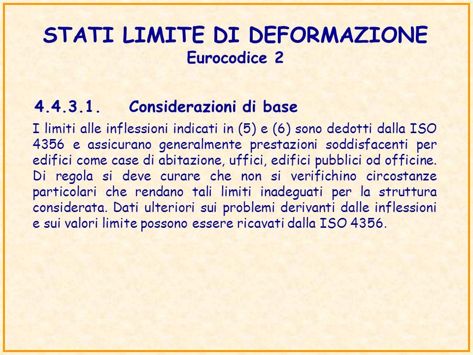 STATI LIMITE DI DEFORMAZIONE Eurocodice 2 4.4.3.1.Considerazioni di base I limiti alle inflessioni indicati in (5) e (6) sono dedotti dalla ISO 4356 e