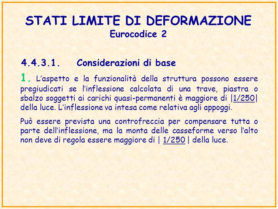 STATI LIMITE DI DEFORMAZIONE Eurocodice 2 4.4.3.1.Considerazioni di base 1. Laspetto e la funzionalità della struttura possono essere pregiudicati se