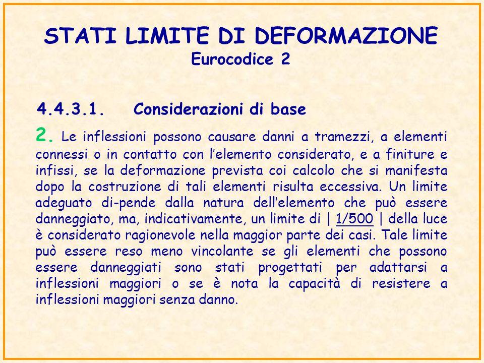 STATI LIMITE DI DEFORMAZIONE Eurocodice 2 4.4.3.1.Considerazioni di base 2. Le inflessioni possono causare danni a tramezzi, a elementi connessi o in