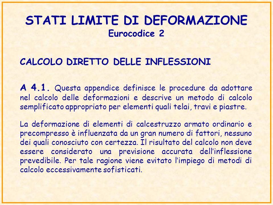 STATI LIMITE DI DEFORMAZIONE Eurocodice 2 CALCOLO DIRETTO DELLE INFLESSIONI A 4.1. Questa appendice definisce le procedure da adottare nel calcolo del