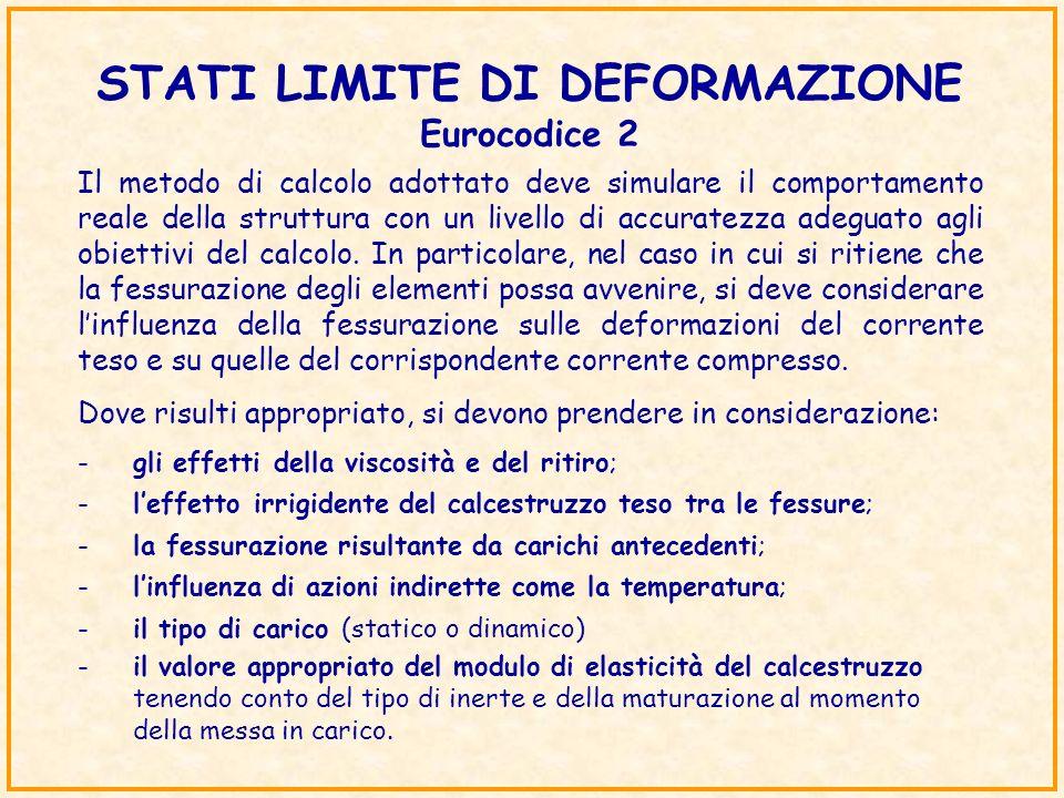 STATI LIMITE DI DEFORMAZIONE Eurocodice 2 Il metodo di calcolo adottato deve simulare il comportamento reale della struttura con un livello di accurat