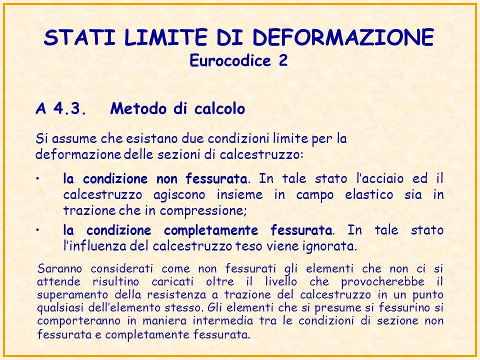 STATI LIMITE DI DEFORMAZIONE Eurocodice 2 Si assume che esistano due condizioni limite per la deformazione delle sezioni di calcestruzzo: la condizion