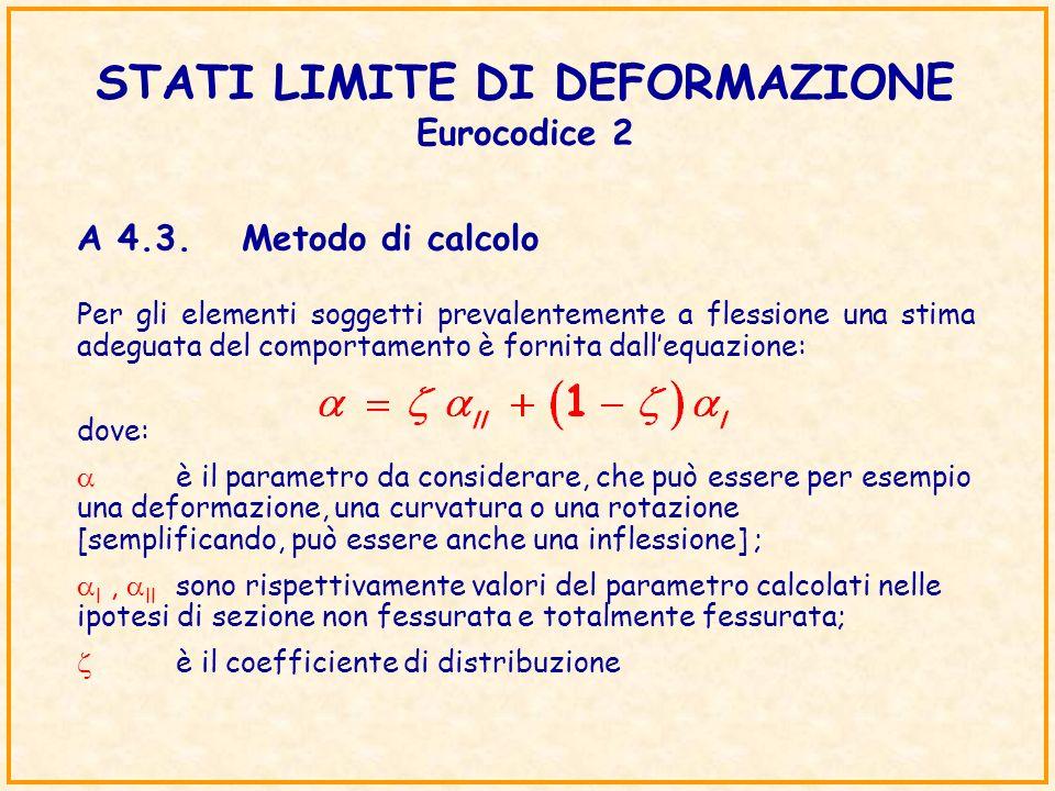 STATI LIMITE DI DEFORMAZIONE Eurocodice 2 Per gli elementi soggetti prevalentemente a flessione una stima adeguata del comportamento è fornita dallequ