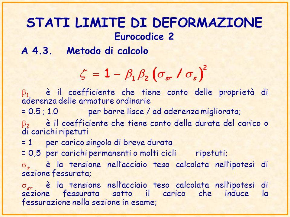 STATI LIMITE DI DEFORMAZIONE Eurocodice 2 1 è il coefficiente che tiene conto delle proprietà di aderenza delle armature ordinarie = 0.5 ; 1.0 per bar