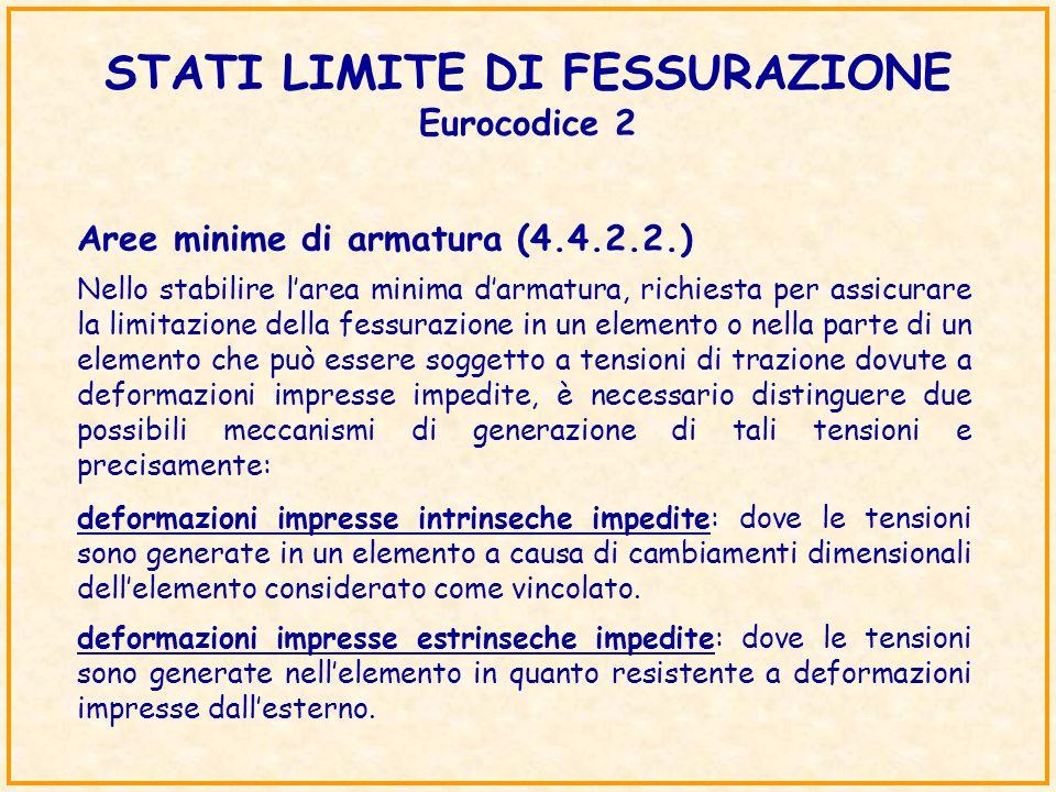 Nello stabilire larea minima darmatura, richiesta per assicurare la limitazione della fessurazione in un elemento o nella parte di un elemento che può