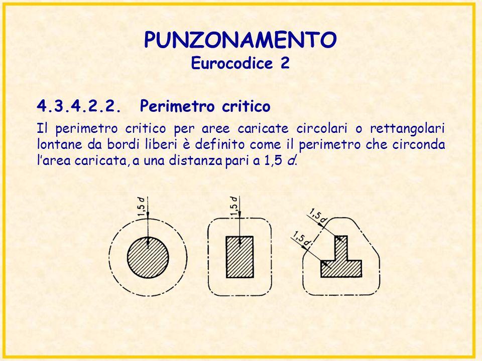 PUNZONAMENTO Eurocodice 2 4.3.4.2.2. Perimetro critico Il perimetro critico per aree caricate circolari o rettangolari lontane da bordi liberi è defin