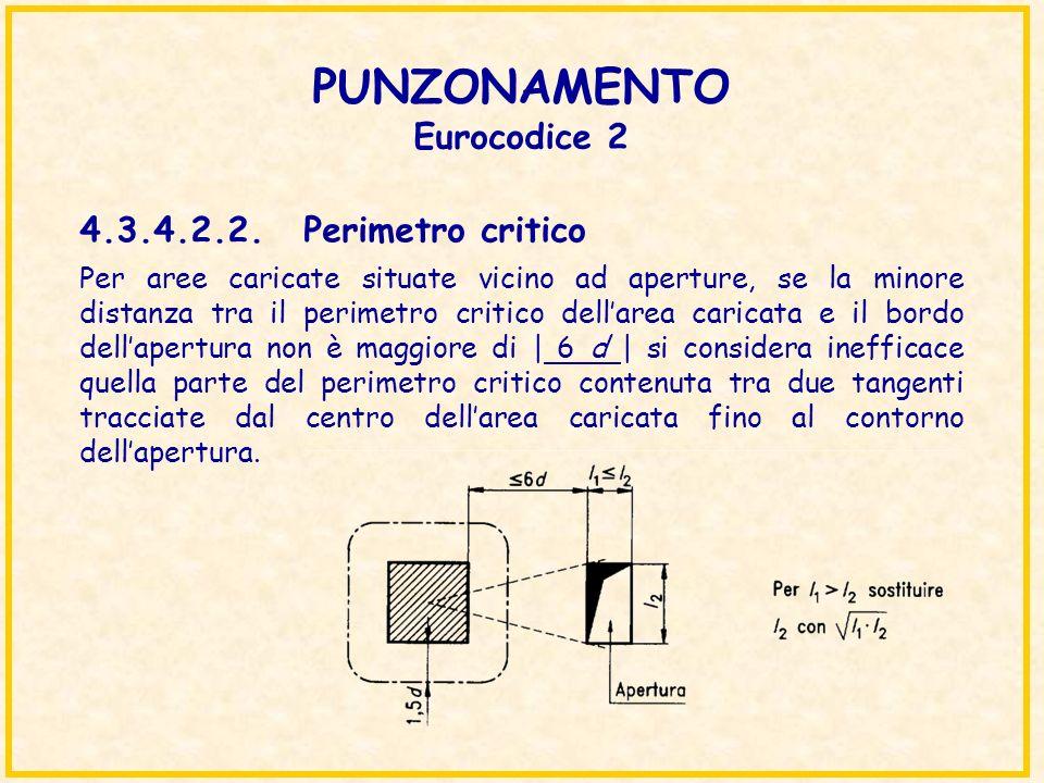 PUNZONAMENTO Eurocodice 2 Per aree caricate situate vicino ad aperture, se la minore distanza tra il perimetro critico dellarea caricata e il bordo de