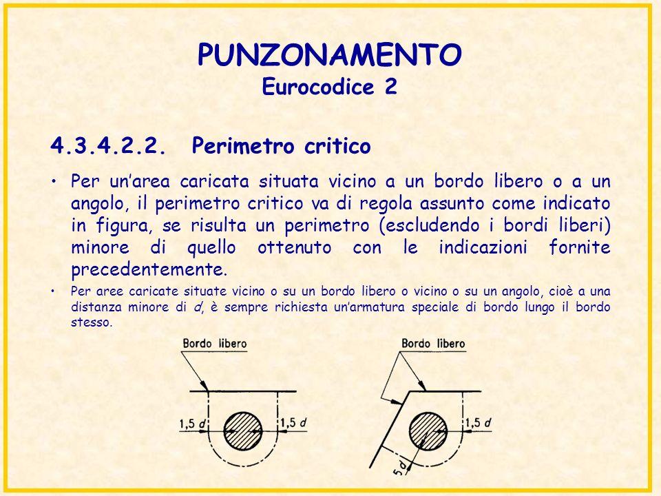 PUNZONAMENTO Eurocodice 2 4.3.4.2.2. Perimetro critico Per unarea caricata situata vicino a un bordo libero o a un angolo, il perimetro critico va di