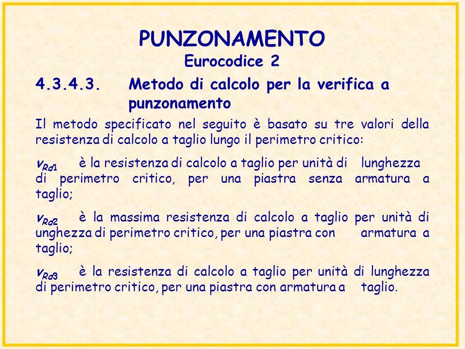 PUNZONAMENTO Eurocodice 2 Il metodo specificato nel seguito è basato su tre valori della resistenza di calcolo a taglio lungo il perimetro critico: v