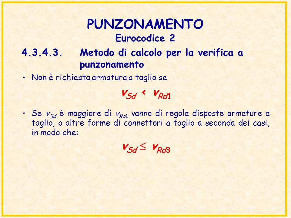 PUNZONAMENTO Eurocodice 2 Non è richiesta armatura a taglio se v Sd < v Rd1 Se v Sd è maggiore di v Rd1 vanno di regola disposte armature a taglio, o
