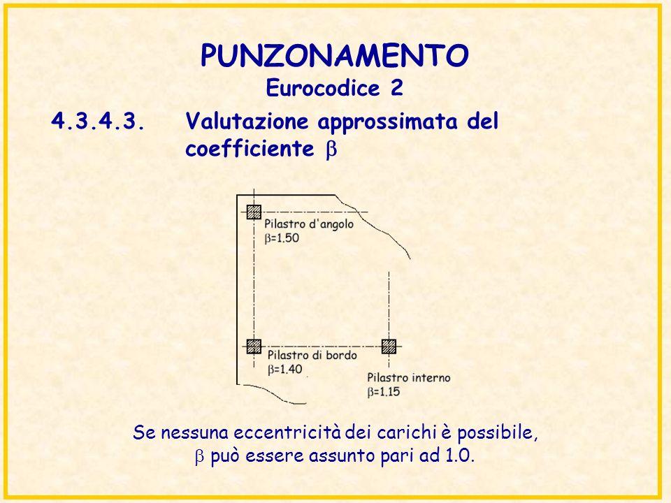 PUNZONAMENTO Eurocodice 2 4.3.4.3.Valutazione approssimata del coefficiente Se nessuna eccentricità dei carichi è possibile, può essere assunto pari a