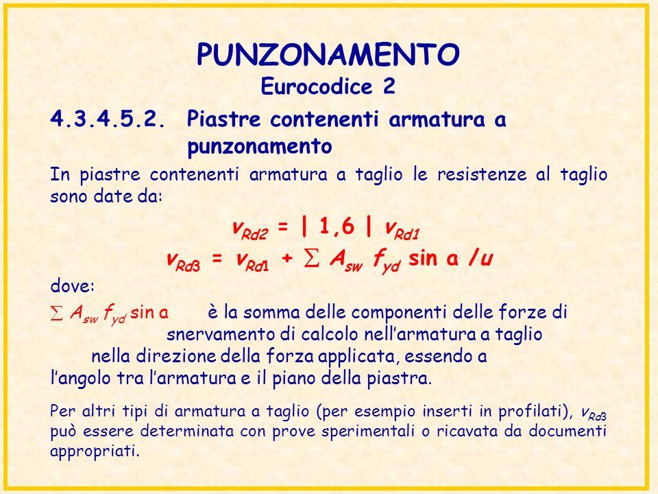 PUNZONAMENTO Eurocodice 2 In piastre contenenti armatura a taglio le resistenze al taglio sono date da: v Rd2 = | 1,6 | v Rd1 v Rd3 = v Rd1 + A sw f y
