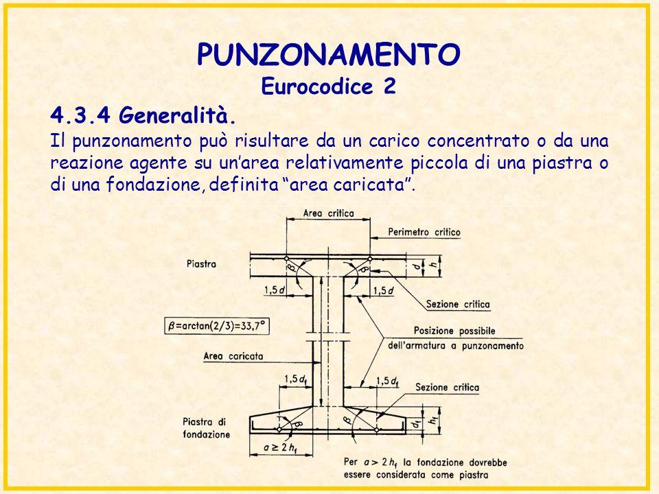 PUNZONAMENTO Eurocodice 2 Il punzonamento può risultare da un carico concentrato o da una reazione agente su unarea relativamente piccola di una piast