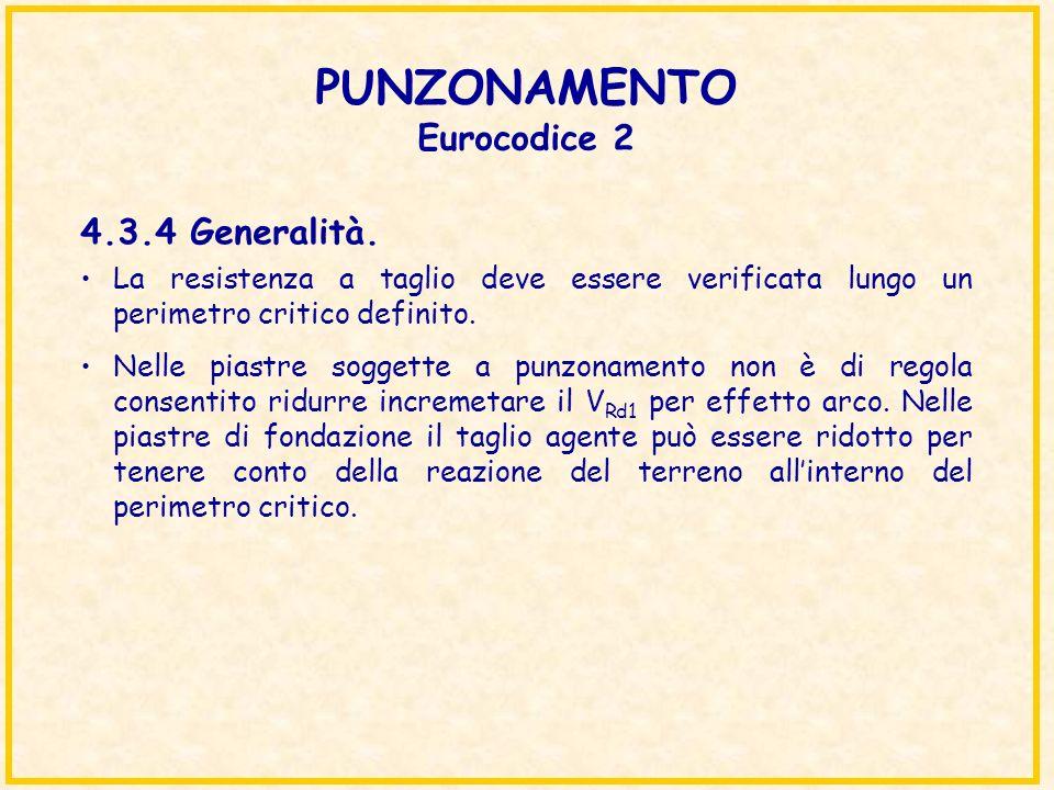 PUNZONAMENTO Eurocodice 2 La resistenza a taglio deve essere verificata lungo un perimetro critico definito. Nelle piastre soggette a punzonamento non