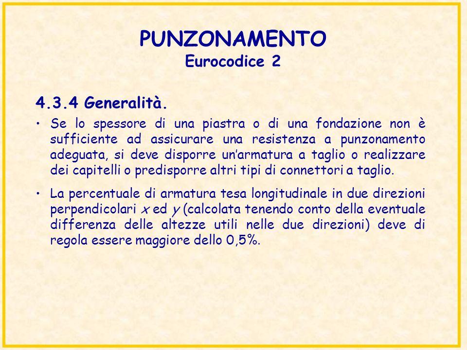 PUNZONAMENTO Eurocodice 2 Se lo spessore di una piastra o di una fondazione non è sufficiente ad assicurare una resistenza a punzonamento adeguata, si