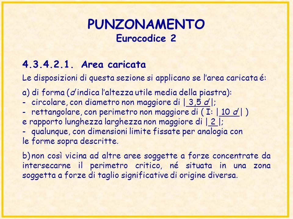 PUNZONAMENTO Eurocodice 2 Le disposizioni di questa sezione si applicano se larea caricata é: a) di forma (d indica laltezza utile media della piastra