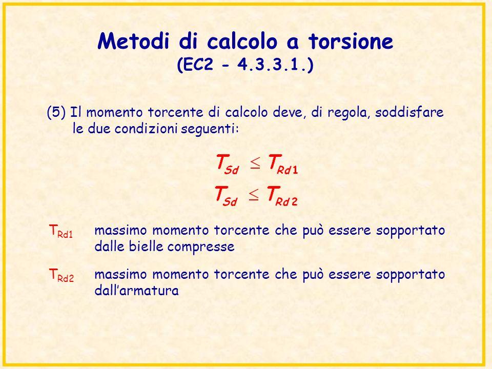 Metodi di calcolo a torsione (EC2 - 4.3.3.1.) (5) Il momento torcente di calcolo deve, di regola, soddisfare le due condizioni seguenti: T Rd1 massimo