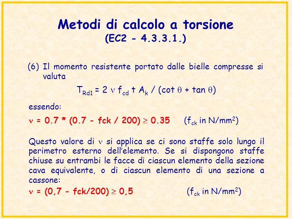 Metodi di calcolo a torsione (EC2 - 4.3.3.1.) (6)Il momento resistente portato dalle bielle compresse si valuta essendo: = 0.7 * (0.7 - fck / 200) 0.3