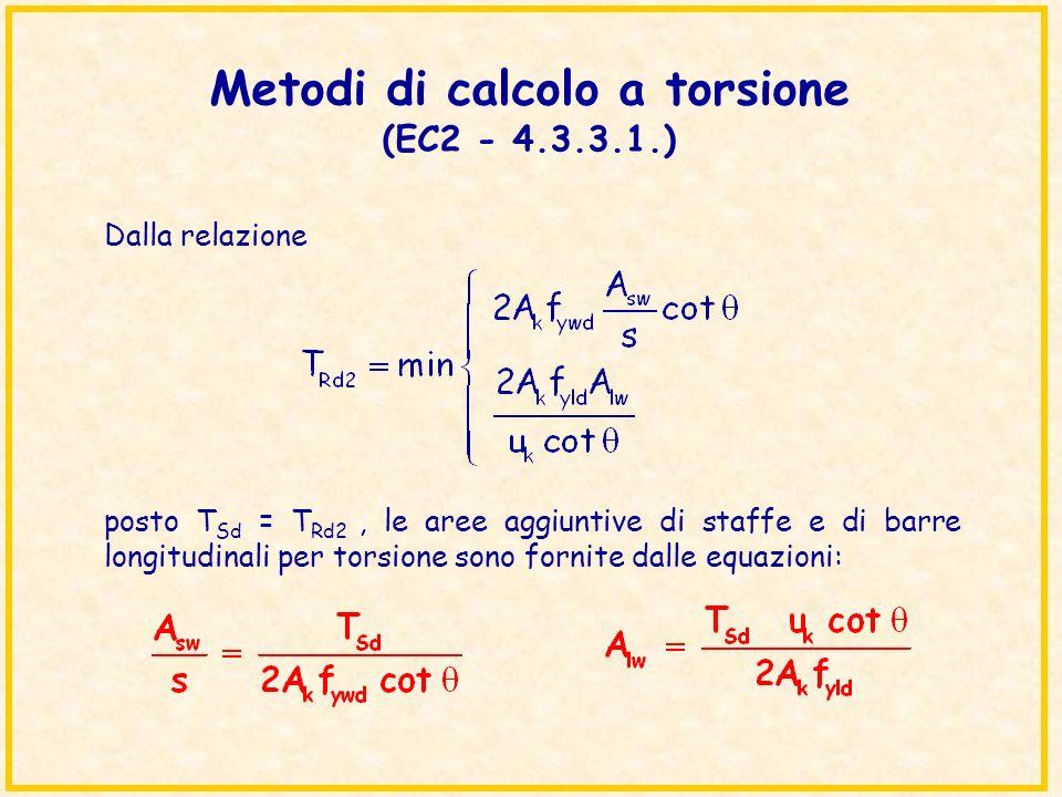 Metodi di calcolo a torsione (EC2 - 4.3.3.1.) Dalla relazione posto T Sd = T Rd2, le aree aggiuntive di staffe e di barre longitudinali per torsione s