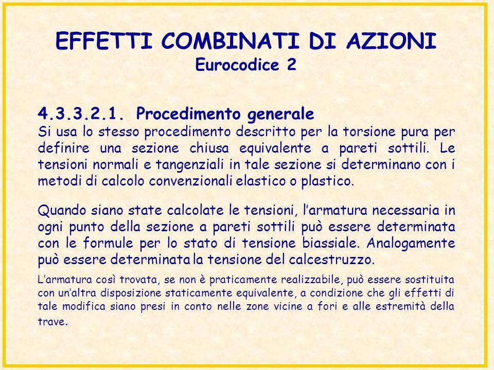 EFFETTI COMBINATI DI AZIONI Eurocodice 2 Si usa lo stesso procedimento descritto per la torsione pura per definire una sezione chiusa equivalente a pa