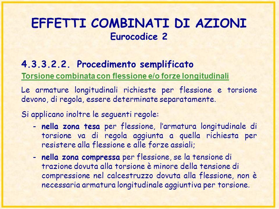 EFFETTI COMBINATI DI AZIONI Eurocodice 2 Torsione combinata con flessione e/o forze longitudinali Le armature longitudinali richieste per flessione e