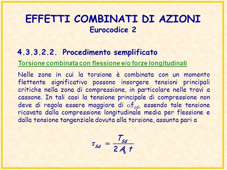 EFFETTI COMBINATI DI AZIONI Eurocodice 2 Torsione combinata con flessione e/o forze longitudinali Nelle zone in cui la torsione è combinata con un mom
