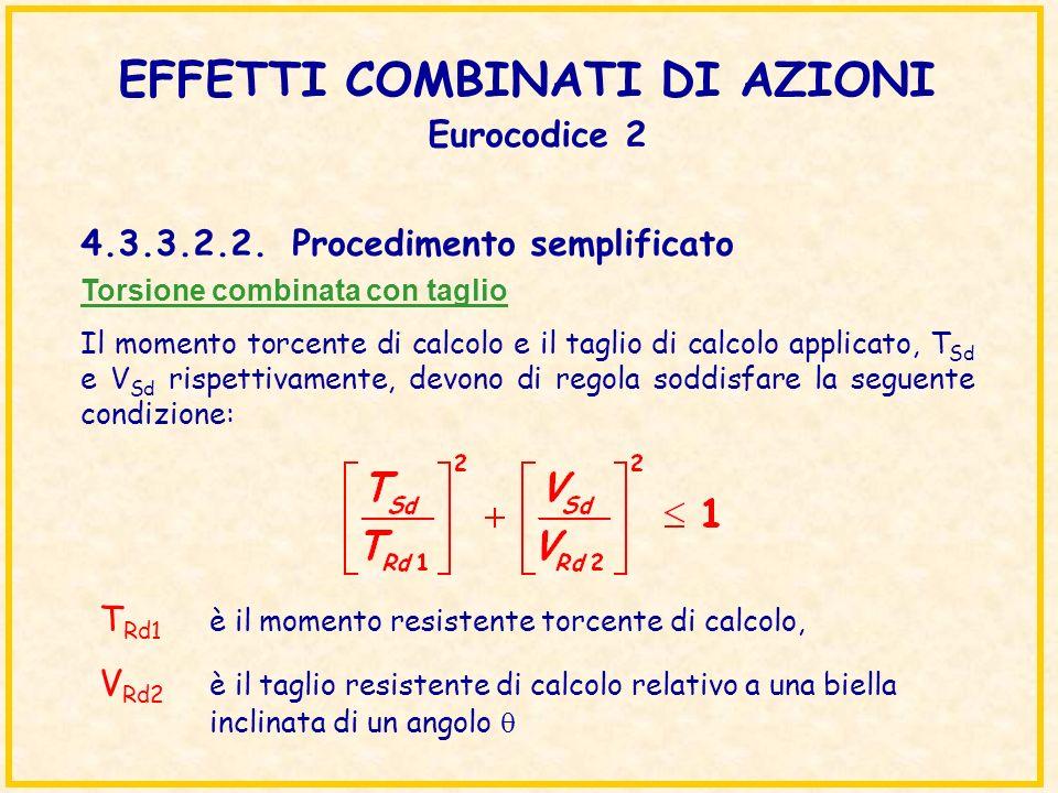 EFFETTI COMBINATI DI AZIONI Eurocodice 2 Torsione combinata con taglio Il momento torcente di calcolo e il taglio di calcolo applicato, T Sd e V Sd ri