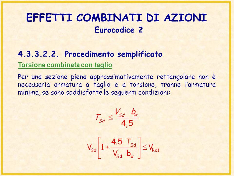 EFFETTI COMBINATI DI AZIONI Eurocodice 2 Torsione combinata con taglio Per una sezione piena approssimativamente rettangolare non è necessaria armatur