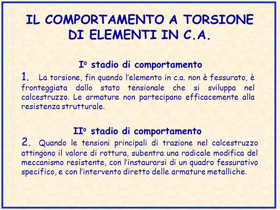 IL COMPORTAMENTO A TORSIONE DI ELEMENTI IN C.A. 1. La torsione, fin quando lelemento in c.a. non è fessurato, è fronteggiata dallo stato tensionale ch