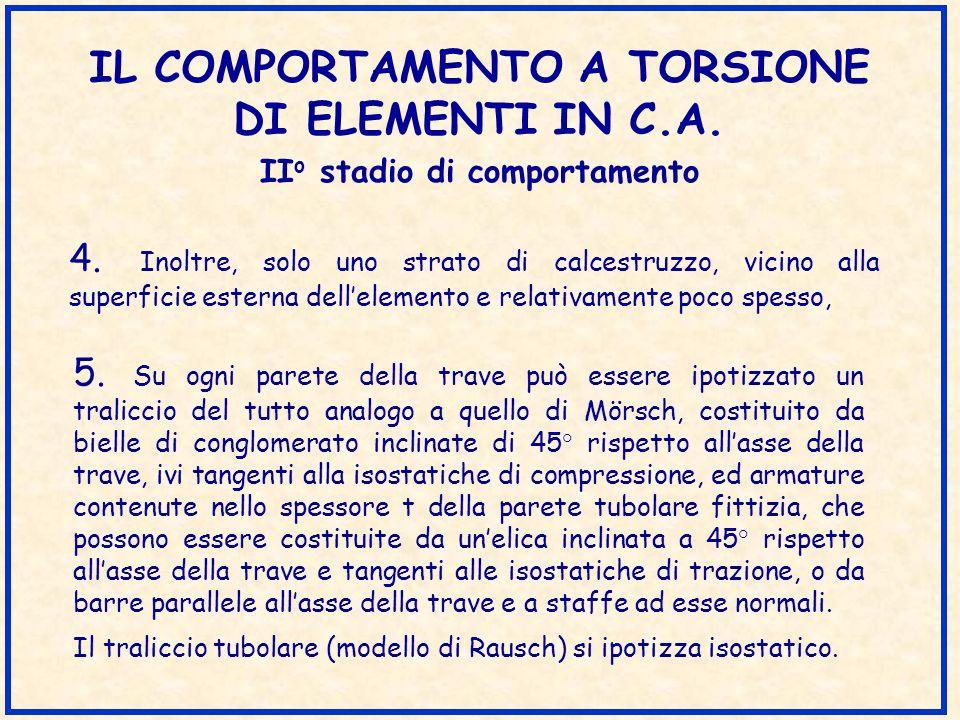 IL COMPORTAMENTO A TORSIONE DI ELEMENTI IN C.A. 5. Su ogni parete della trave può essere ipotizzato un traliccio del tutto analogo a quello di Mörsch,