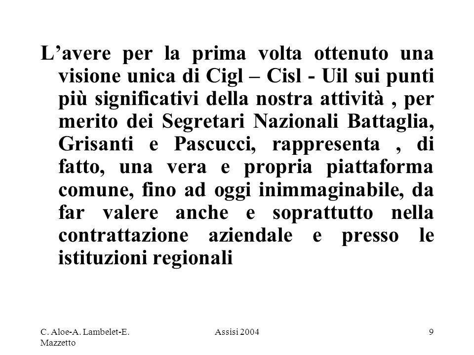 C. Aloe-A. Lambelet-E. Mazzetto Assisi 20049 Lavere per la prima volta ottenuto una visione unica di Cigl – Cisl - Uil sui punti più significativi del