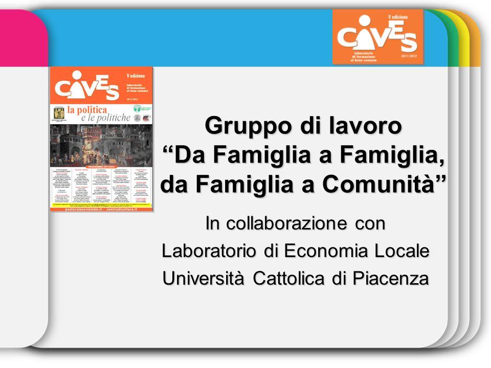 Gruppo di lavoro Da Famiglia a Famiglia, da Famiglia a Comunità In collaborazione con Laboratorio di Economia Locale Università Cattolica di Piacenza