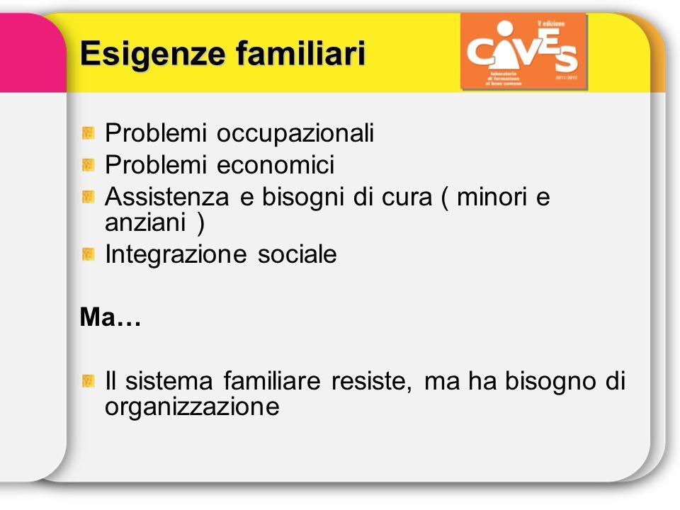 Esigenze familiari Problemi occupazionali Problemi economici Assistenza e bisogni di cura ( minori e anziani ) Integrazione sociale Ma… Il sistema fam