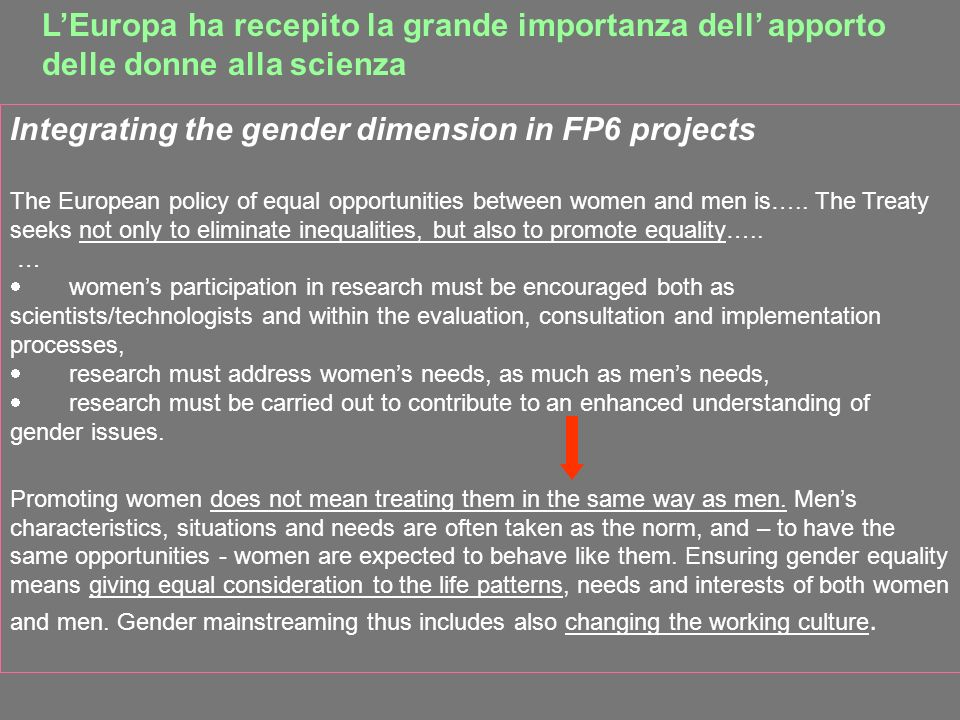 LEuropa ha recepito la grande importanza dell apporto delle donne alla scienza Integrating the gender dimension in FP6 projects The European policy of