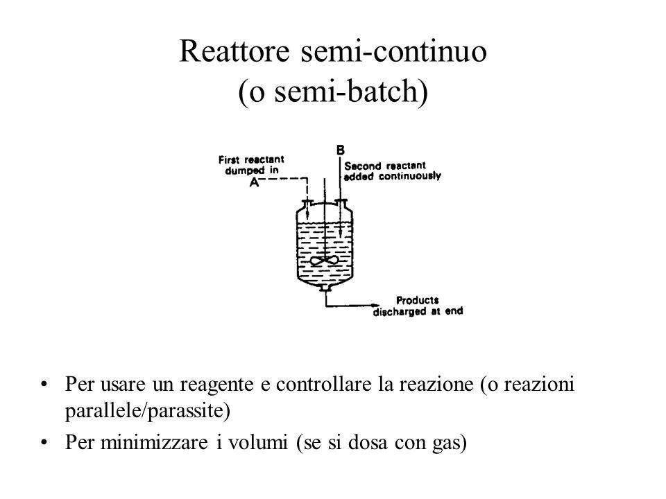 Reattore semi-continuo (o semi-batch) Per usare un reagente e controllare la reazione (o reazioni parallele/parassite) Per minimizzare i volumi (se si