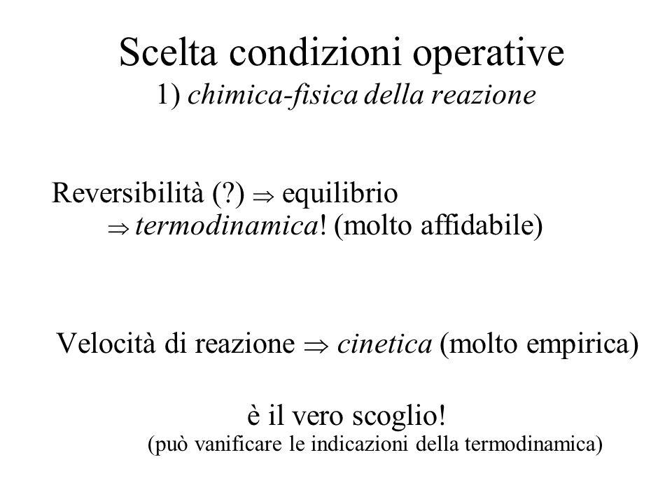 Scelta condizioni operative 1) chimica-fisica della reazione Reversibilità (?) equilibrio termodinamica! (molto affidabile) Velocità di reazione cinet