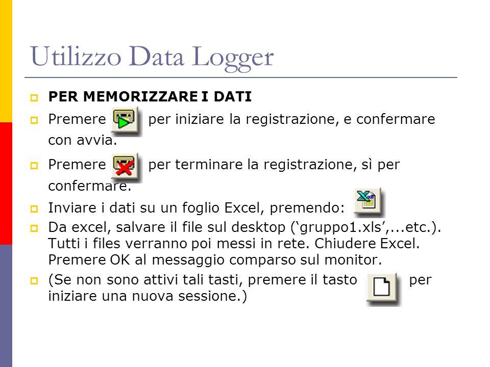 Utilizzo Data Logger PER MEMORIZZARE I DATI Premere per iniziare la registrazione, e confermare con avvia. Premere per terminare la registrazione, sì