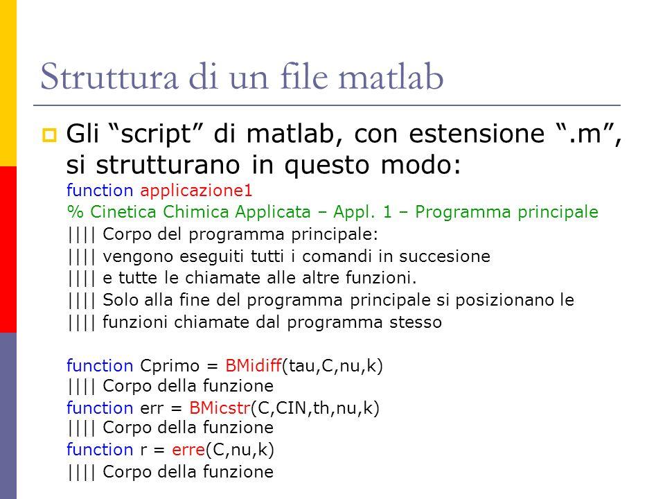 Struttura di un file matlab Gli script di matlab, con estensione.m, si strutturano in questo modo: function applicazione1 % Cinetica Chimica Applicata
