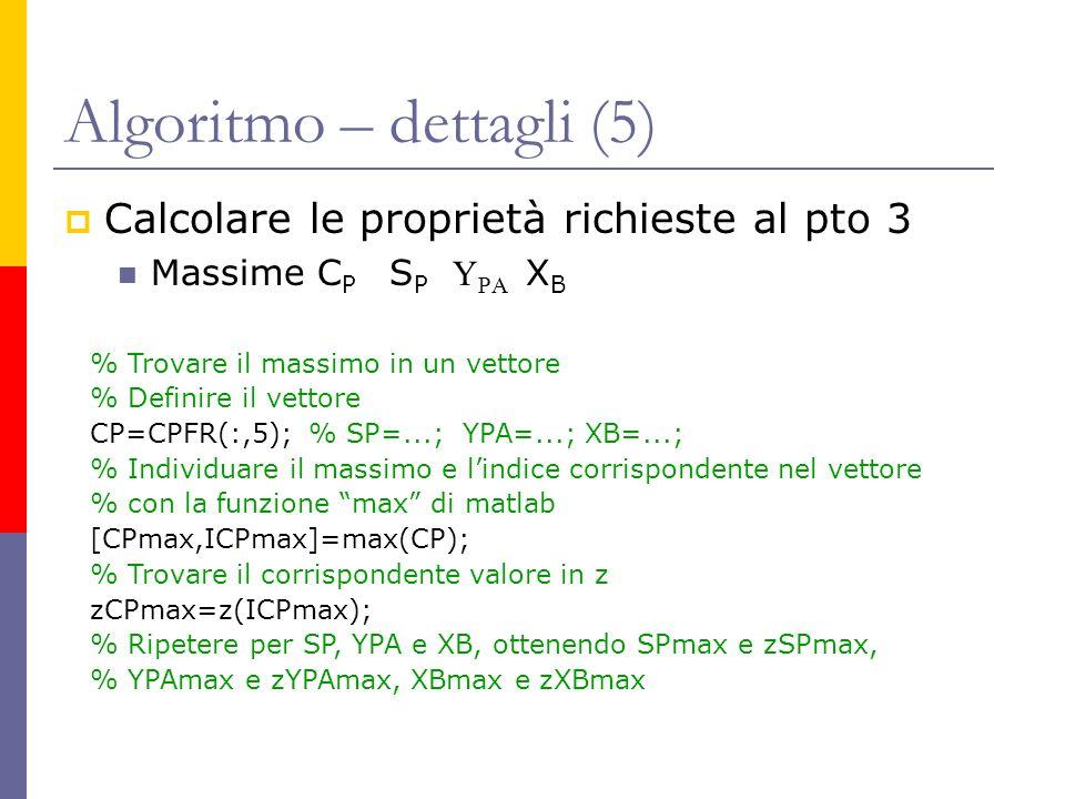 Algoritmo – dettagli (5) Calcolare le proprietà richieste al pto 3 Massime C P S P Y PA X B % Trovare il massimo in un vettore % Definire il vettore C
