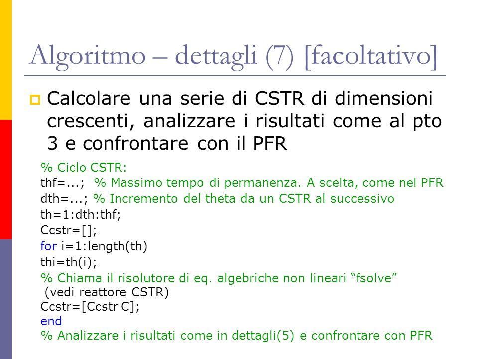 Algoritmo – dettagli (7) [facoltativo] Calcolare una serie di CSTR di dimensioni crescenti, analizzare i risultati come al pto 3 e confrontare con il