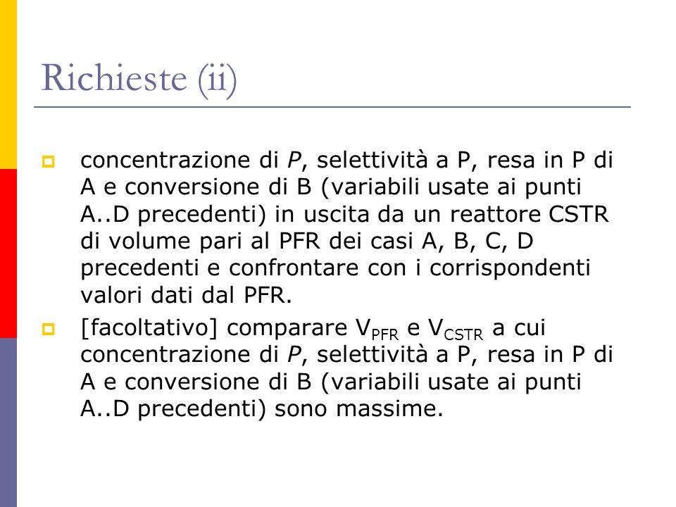 Richieste (ii) concentrazione di P, selettività a P, resa in P di A e conversione di B (variabili usate ai punti A..D precedenti) in uscita da un reat