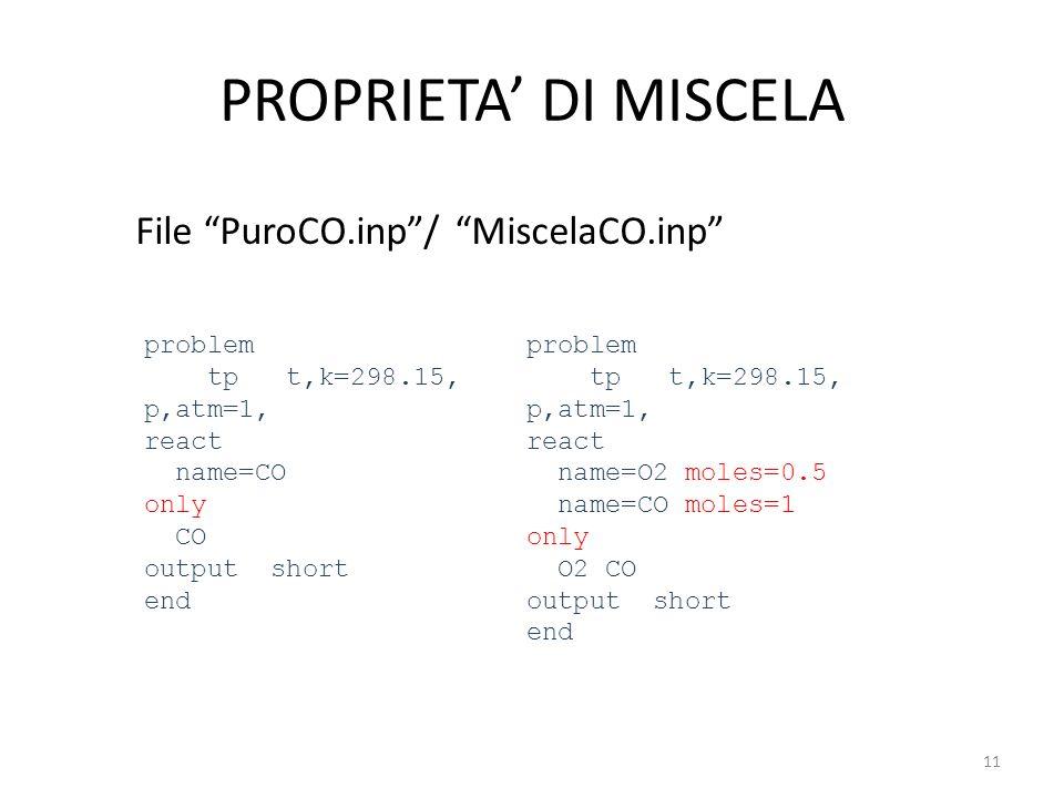 PROPRIETA DI MISCELA File PuroCO.inp/ MiscelaCO.inp problem tp t,k=298.15, p,atm=1, react name=CO only CO output short end problem tp t,k=298.15, p,at