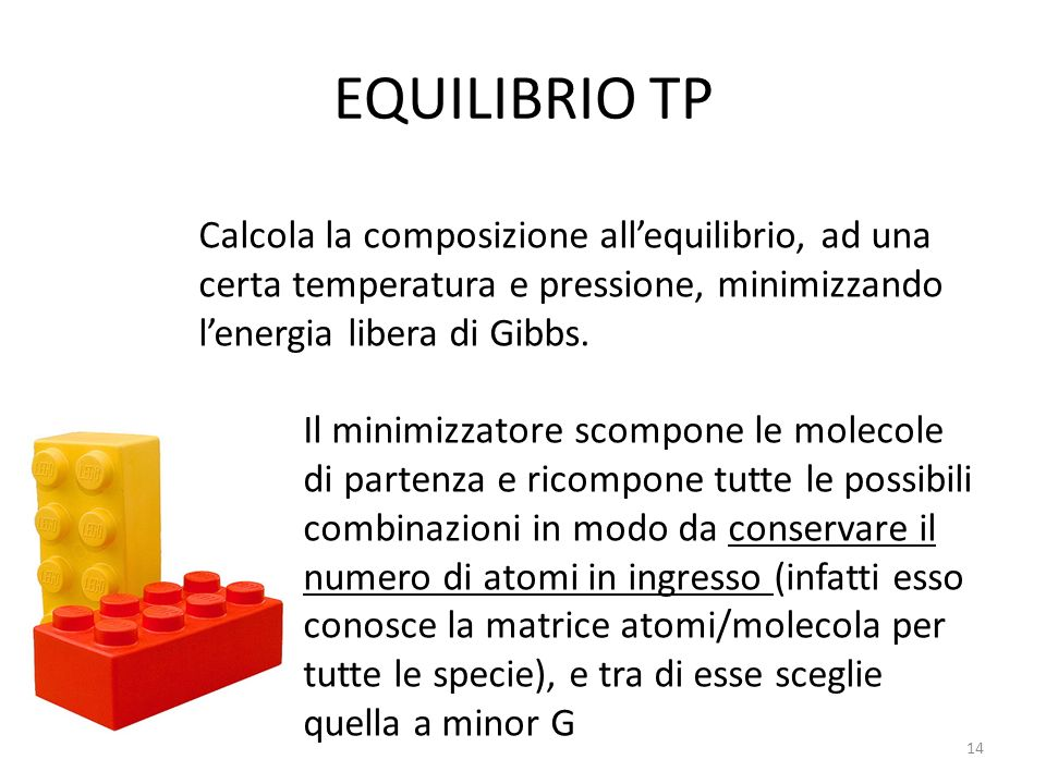 EQUILIBRIO TP Calcola la composizione allequilibrio, ad una certa temperatura e pressione, minimizzando lenergia libera di Gibbs. Il minimizzatore sco