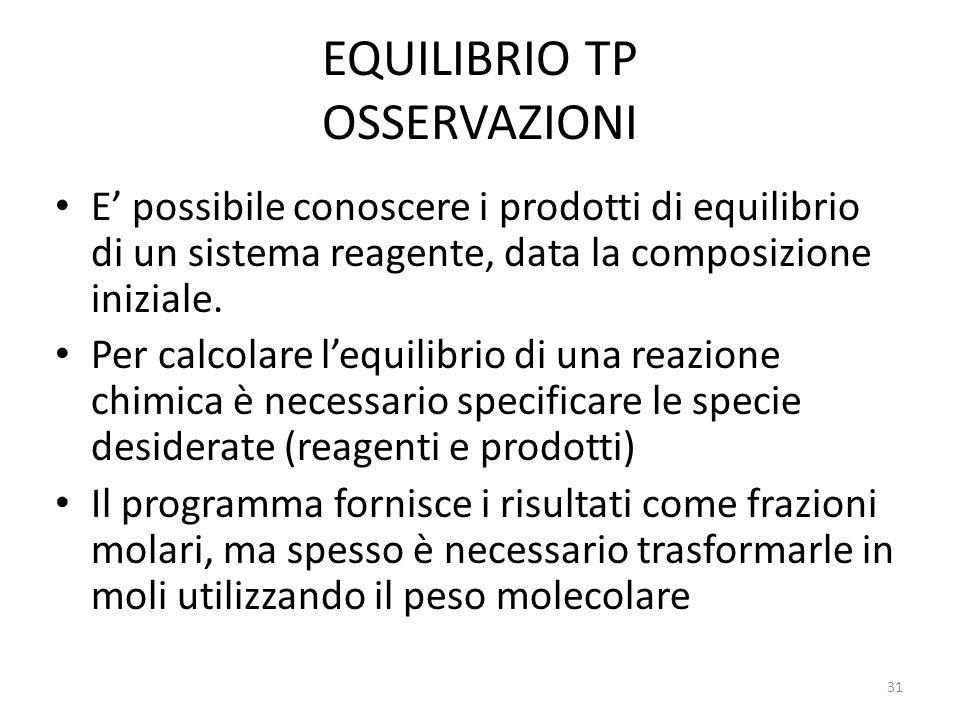 EQUILIBRIO TP OSSERVAZIONI E possibile conoscere i prodotti di equilibrio di un sistema reagente, data la composizione iniziale. Per calcolare lequili